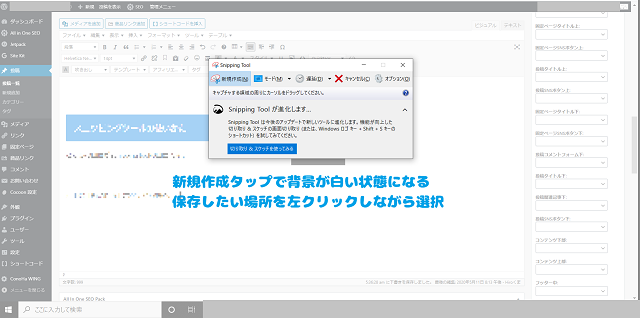 snipping tool 保存したい画像を選択