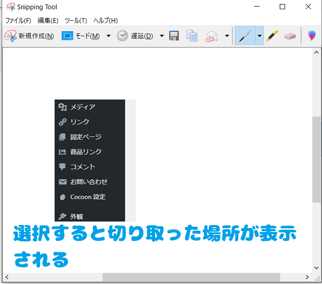 snipping tool_プレビューの確認